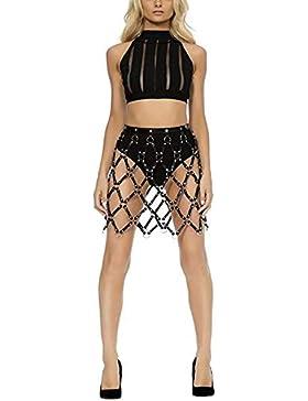 JQJPJOSIE Street Caged Weave Round Plaid Shaping Shaper Arnés de Cuero Body Bondage Skirts Vestido de Cadena
