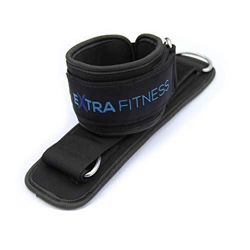 EXTRA FITNESS Zwei Fußschlaufen für Kabelzug, gepolstert - schwarz, mit starkem Klettverschluss auch für Damen - qualitativ hochwertig für professionellen Gebrauch im Fitnessstudio geeignet