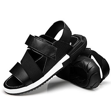 Herren Sandalen Sommer Comfort Light Sohlen Microfaser Leder Outdoor Casual flachem Absatz Magic Tape Wasser Schuhe Black