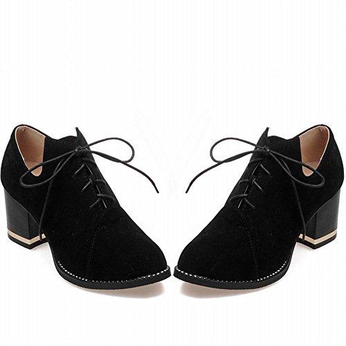 Mee Shoes Damen chunky heels Nubukleder runde Ankle Boots Schwarz