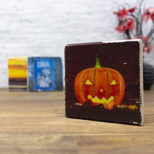 Fotoart-Hamburg - elbPLANKE - Holzbild Halloween | 10x10 cm | Homedecor aus Kiefer/Fichte Holz in Shabby Chic Look zum verschenken und sammeln