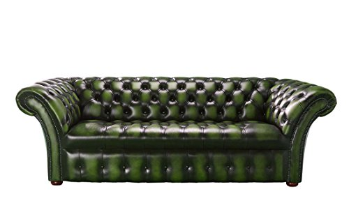 Chesterfield Balmoral 3-Sitzer Sofa, Leder, antik-grün, DREI Sitze -