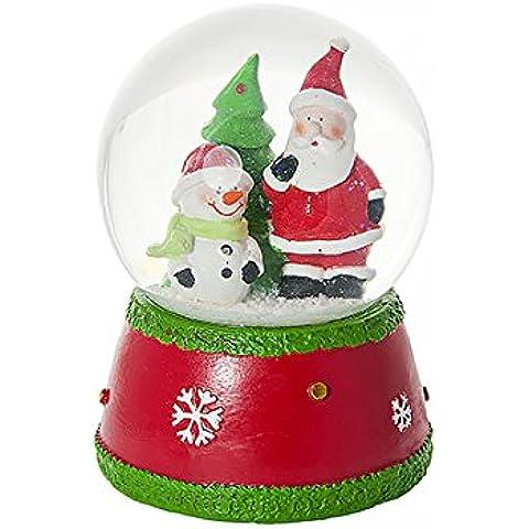 Globo de nieve navideña con Papá Noel, un muñeco de nievo y la música de 'Jingle Bells'