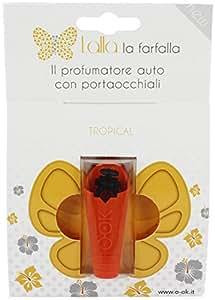 LALLA LA FARFALLA - PROFUMATORE AUTO con PORTAOCCHIALI OOK (Tropical - Giallo )