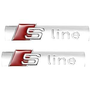 ONEVER Metall Auto Styling S-LINE Auto Tür Schwanz Emblem Abzeichen Aufkleber Auto Für Audi Audi A2 A3 A4 A6 A6L A8 A7 Q3 Q5 Q7 RS3 RS5 RS7 Helle Silber (2pcs)