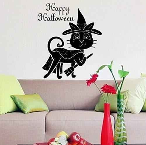 Wandaufkleber Hut Besen Katze Happy Halloween Wandtattoos Halloween Dekoration Pvc Wall Poster Vinyl Decals ()