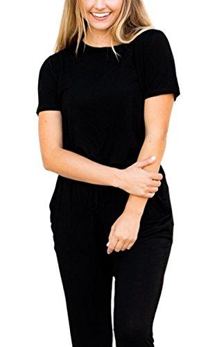ECOWISH Jumpsuit Damen Elegant Overall Einteiler Hosenanzug Hose lang Kurzarm Cocktail Strampler Schwarz M