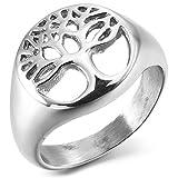 MunkiMix Acero Inoxidable Anillo Ring Toe-Ring Tail-Ring El Tono De Plata Árbol De La Vida Talla Tamaño 15