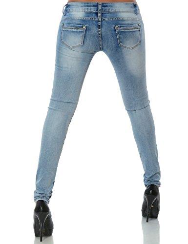 Damen Jeans Hose Skinny Röhre No 15509 Blau