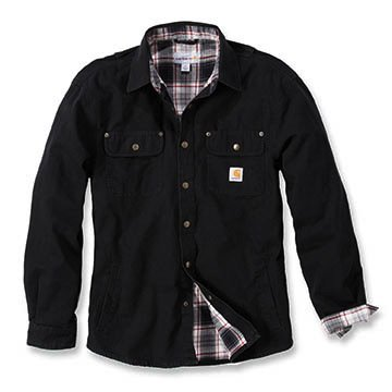 Carhartt Arbeitshemd, arbeitsshirt, arbeitsjacke Weathered Canvas Shirt Jacket - Black L - Western Hemd-jacke
