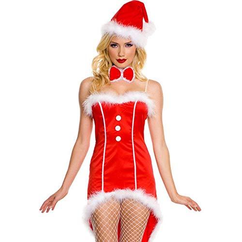 FHSIANN Erwachsene Frauen Halloween Weihnachten Sexy Prinzessin Kostüm Damen Red Santa Cosplay Tube - Santa Overall Für Erwachsene Kostüm