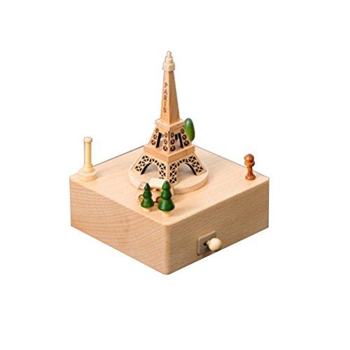 TOYMYTOY Hölzerne Spieluhr, handgemachte einfache Spieluhr, Geburtstagsgeschenke für Jungen und Mädchen, (Eiffelturm)