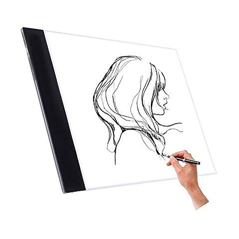 Wuiyepo A4 Tracing Light Box LED Artiste Tatouage tableau de dessin Artiste Dessin Tatouage Drafting Graphics Tablet Lumière Pad Board (Luminosité non réglable)