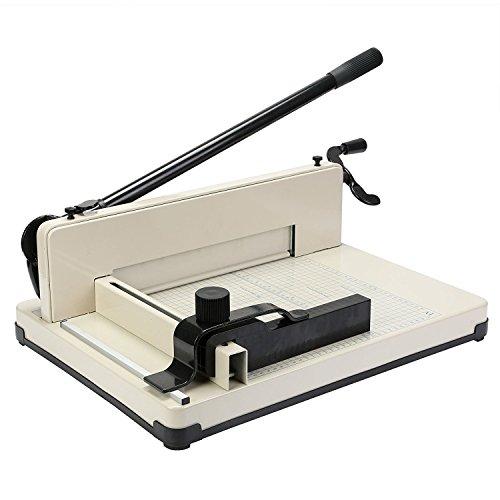 ZauberLu Papierschneider A4 Hebel-Schneidemaschine für Fotos Papier und Karton 400 Blättern manuell Hebelschneider Mit 31CM Klinge Weiß (A4)