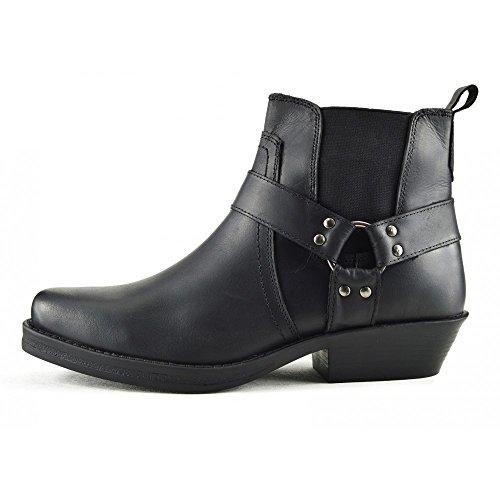 Kick Footwear - Herren Cowboy Ankle Boots Aus Leder Biker-Boots Aus Leder Toe Schwarz-Model No. 3