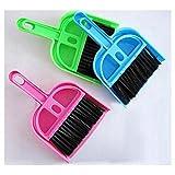 Spazzola per la pulizia dello spazzamento della tastiera del desktop Piccola scopa per la spazzatura Strumenti per la pulizia in plastica Mini pala Set Spazzola per computer, Blu, rosa, verde,