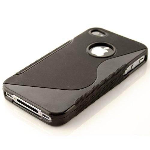 kwmobile Hülle TPU Silikon Case für > Apple iPhone 4 / 4S < mit S-Line Design - Handy Cover Schutzhülle in Schwarz