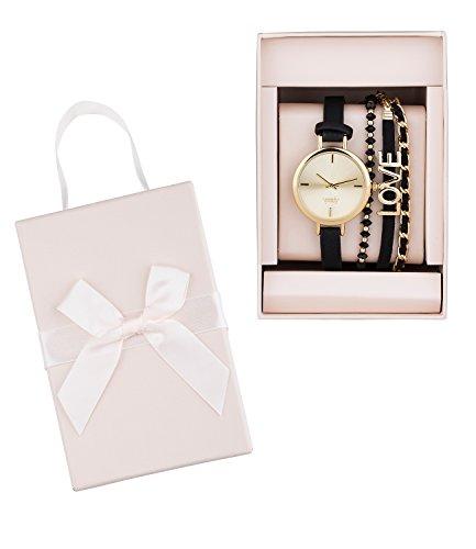 """SIX """"Geschenk"""" Set aus eleganter goldener Armbanduhr mit schwarzem Uhrband und 3 Armbändern in schöner Geschenkverpackung Damen Uhr (19-996)"""