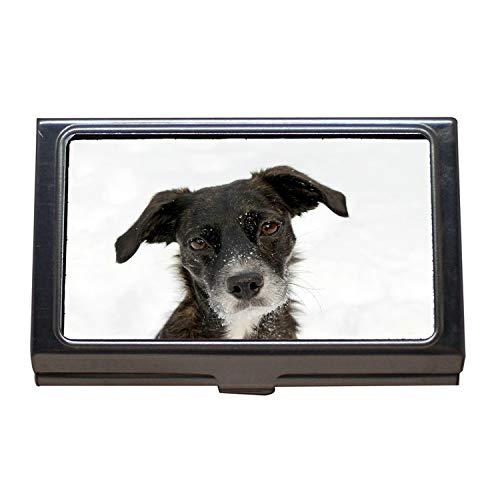 Visitenkartenetui, Hundeporträt Schwarzes Schnee-Gesicht Süßer lustiger Bonbon, Visitenkarten-Etui aus Edelstahl - Nickel Schnee
