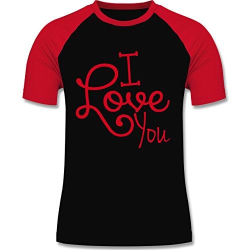 Statement Shirts - I Love You - zweifarbiges Baseballshirt für Männer Schwarz/Rot