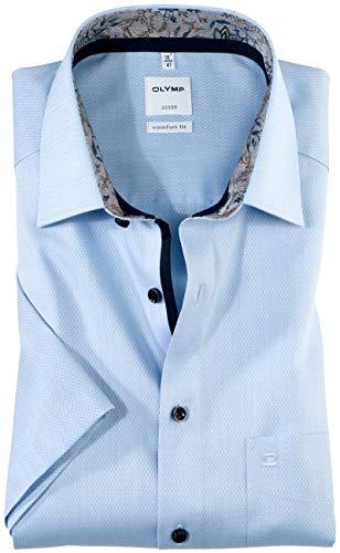 Olymp Herren Hemd Comfort Fit Kurzarm bleu (50) 45