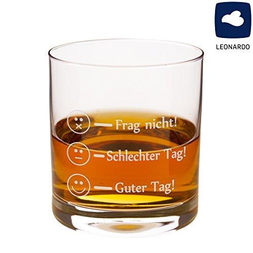 Leonardo Whiskyglas - Frag nicht - Guter Tag Lustiges Whisky Glas mit Befüllungs-Markierungen graviert - Markenglas mit Smiley Gravur je nach Stimmung