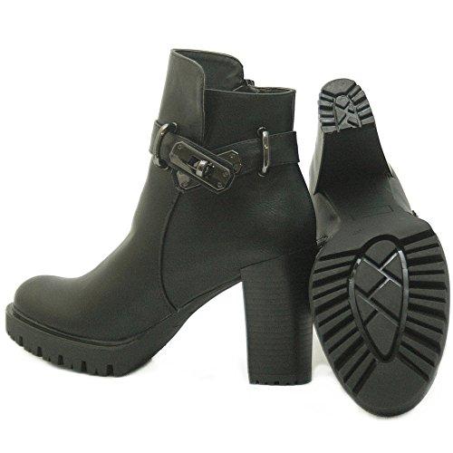 6562ab4a2fbc16 ... Kayla Shoes Chelsea Boots Plateau Stiefeletten mit Blockabsatz in  Holzoptik Schwarz Varia 2