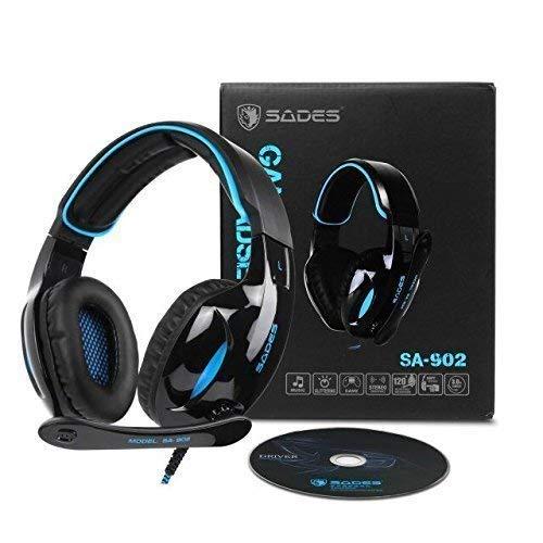 Gaming Kopfhörer Sades SA902 Wired Over-Ear-Kopfhörer Dolby 7.1 Surround Sound Stereo High-Fidelity LED mit Mikrofon Gaming headset Für PC/Laptop (Schwarz Blau)