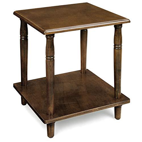 Vasagle tavolino, comodino a 2 ripiani con gambe in legno massello, colonne romane, facile da montare, per salotto, camera da letto, ingresso, color noce let12cb