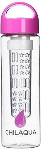 Wasserflasche mit Fruchteinsatz / Trinkflasche für Fruchtschorlen + Eiswürfelform Kugel aus Silikon - Beste Wasserflasche / Infuser aus hochwertigem Eastman Tritan Material (Trinkflasche Klar Infuser)