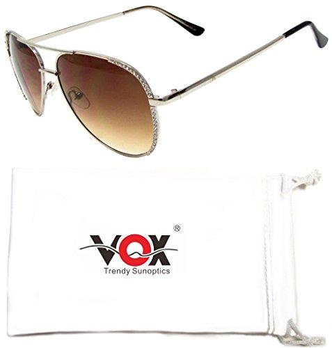 Vox da donna Aviator Occhiali da sole strass Fashion Design Vintage Classic Chic Occhiali argento Silver Frame - Amber Lens