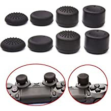 SLB Works Brand New 8 Pcs Black Silicone Thumb Stick Grip Cover Caps For PS4 Game Analog Controller