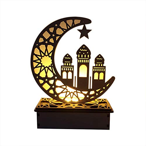 Mubarak Ramadan LED Holz DIY Lampe, Muslim Islam Eid Festival Dekoratives Licht für Zuhause, Büro und Palast, 5,91 × 2,36 × 7,48 Zoll