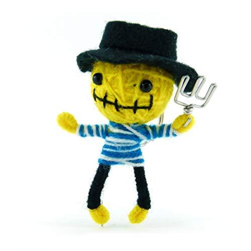 Freddy - Voodoo-Puppe Schlüsselanhänger als Seelentröster und Glücksbringer Anhänger für Taschen Handy Autorückspiegel - Sorgenpüppchen Handgemacht aus Wolle und Stoff