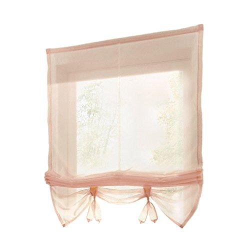 D DOLITY Landhaus Raffrollo Fenstervorhang Raffgardine Vorhang Gardine Kurz für Fenster - Weizen 100x155cm