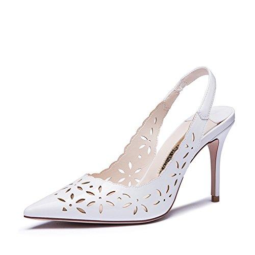 Dames blanches sandales talons dans l'été/Coupe cuir verni a fait toes talons sexy A