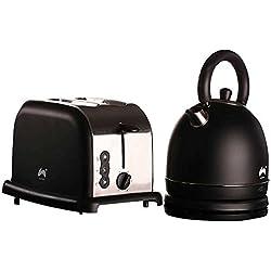 Comme Direct Ltd ? Grand dôme rapide bouillir bouilloire + 2Slice Toaster Large fente Ensemble Noir/argent