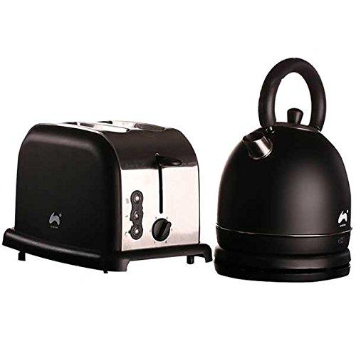 Als Direct Ltd ? groß Schnell kochen Dome Wasserkocher + 2Slice Toaster breit Slot Set schwarz/silber