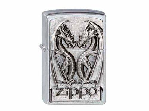 Zippo 200 Twins Dragon Heart Feuerzeug, Messing, Silber, One Size (Zippo Feuerzeug Dragon)