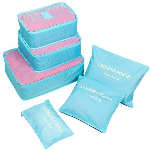 Packing Cube, LIFU 6 Sets Esenciales de viajes maletas equipaje bolsa de almacenamiento organizador bolsa organizadora de ropa/equipaje de viaje juego de - azul claro