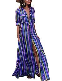 61a1abb06388 Estivo Maxi Vestiti da Spiaggia Donna Casual Sciolto Mezza Manica Camicie  Vestito a Righe Moda Patchwork Abito da…