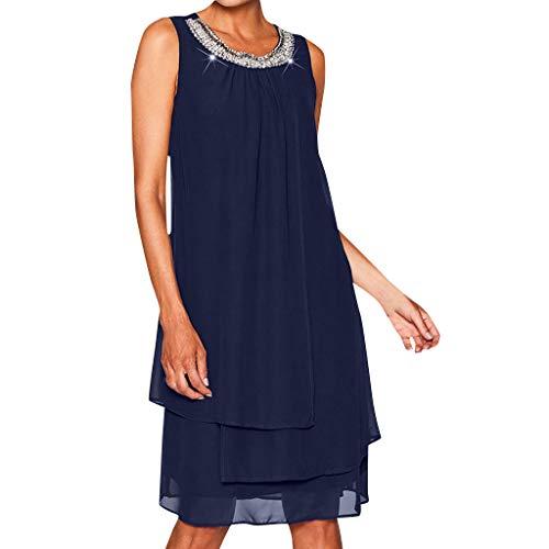 iCerber Boutique Damen Kleider Frauen Chiffon Sommer Langes Shirt Plus Size Pailletten Oansatz T-Shirt Kleid Sleeveless beiläufiges Schaukel-Partykleid S-XXXXXL