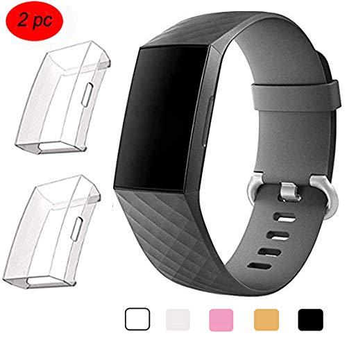Fentace pour Fitbit Charge 3 Protection d'écran, 2 pièces Antichoc en Silicone Anti-Rayures avec étui de Protection Accessoire