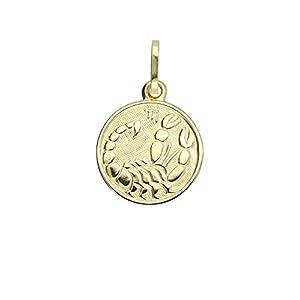 MyGold Sternzeichen Anhänger (ohne Kette) Gelbgold 333 Gold (8 Karat) Klein Ø 12mm Rund Tierkreiszeichen Horoskop Goldkette Halskette Goldanhänger Kettenanhänger Zodiac round MOD-06017