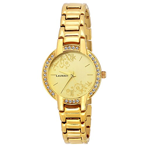 Laurels Gold Color Analog Women's Watch With Metal Chain: LWW-MST-060606