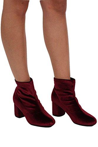 PILOT® Samt Blockabsatz Ankle Boots Weinrot