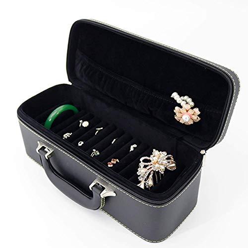 Giow Schmuckschatulle lagerung tragbare Armband Jade smaragd anhänger Ring Zeigen (Farbe: schwarz, größe: 30,1x11,6x11.6cm)