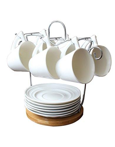 Juego de café Deluxe muy práctico de tazas y platos blancos con soporte de bambú para cocina -Hogar y mas (Juego De Cocina)
