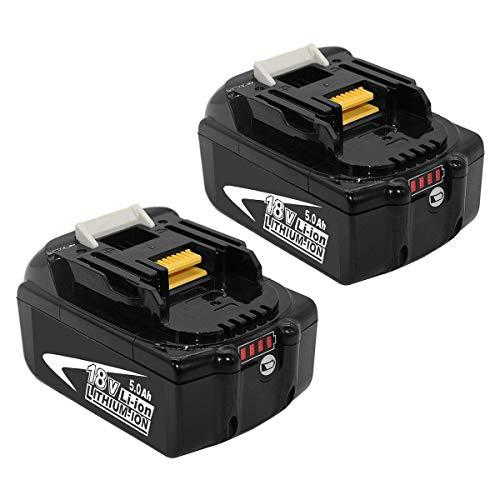 [2 Stück] BL1850B Lithium-ion Akku für Makita Akku 18V 5.0Ah BL1860B BL1860 BL1850B BL1830B 196399-0 196673-6 LXT-400 Akku-Elektrowerkzeug mit LED-Ladeanzeige FUNMALL