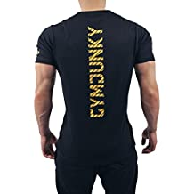 Gymjunky Dynamic Fitness T-Shirt Musclefit in Black/Sunshine Yellow - Training Sportkleidung